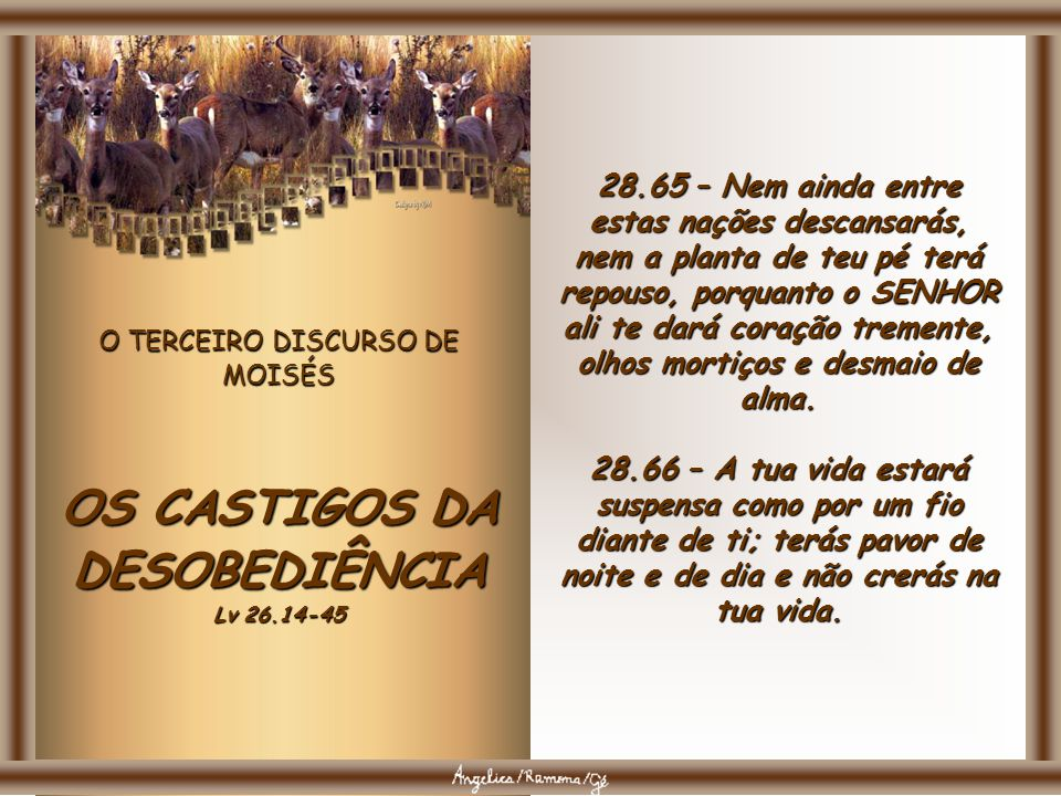 O TERCEIRO DISCURSO DE MOISÉS OS CASTIGOS DA DESOBEDIÊNCIA Lv 26.14-45 28.63 – Assim como o SENHOR se alegrava em vós outros, em fazer-vos bem e multi