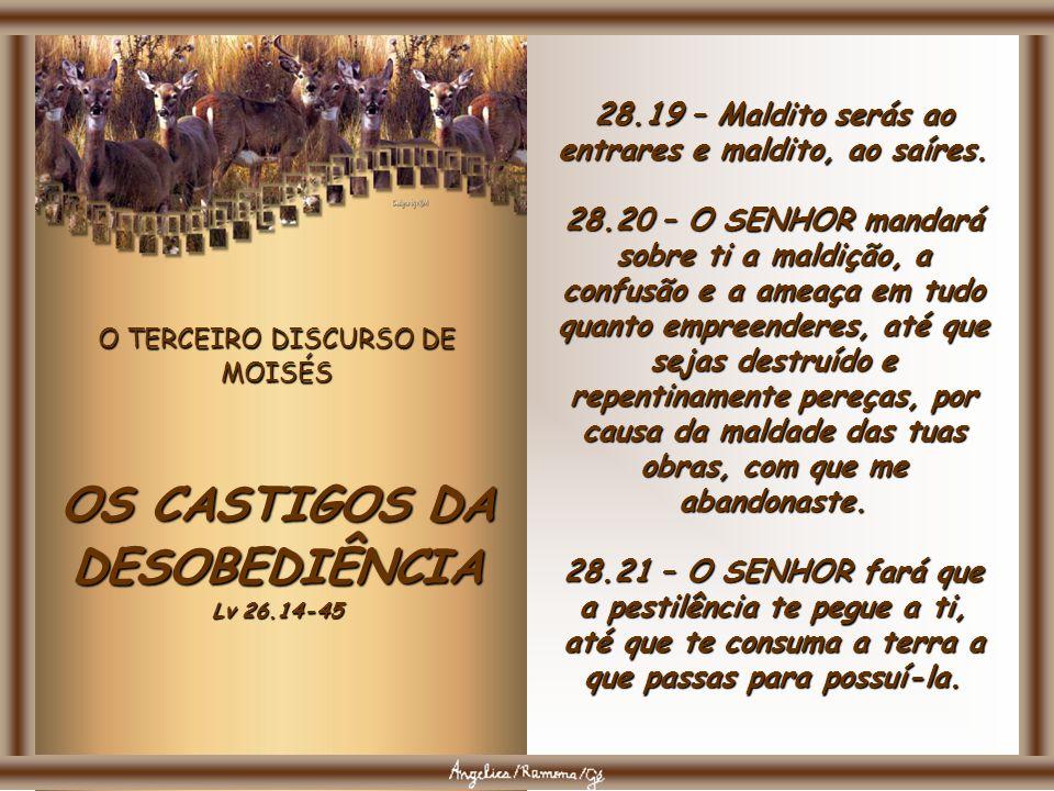 O TERCEIRO DISCURSO DE MOISÉS OS CASTIGOS DA DESOBEDIÊNCIA Lv 26.14-45 28.49 – O SENHOR levantará contra ti uma nação de longe, da extremidade da terra virá, como o vôo impetuoso da águia, nação cuja língua não entenderás; 28.50 – nação feroz de rosto, que não respeitará ao velho, nem se apiedará do moço.