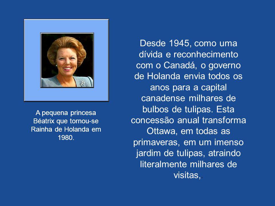 A pequena princesa Béatrix que só tinha dois anos de idade quando conseguiu abrigo no Canadá, no dia 30 de abril de 1980 subiu no trono de Holanda. El