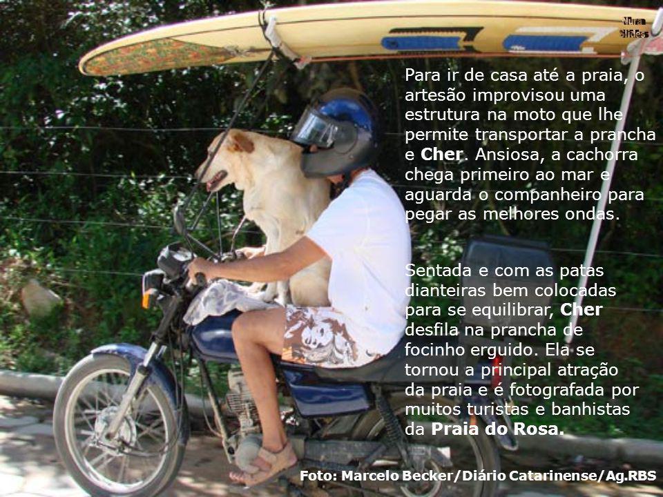Para ir de casa até a praia, o artesão improvisou uma estrutura na moto que lhe permite transportar a prancha e Cher.