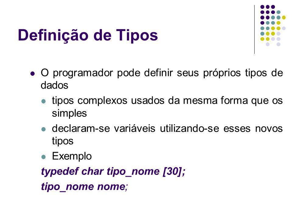 O programador pode definir seus próprios tipos de dados tipos complexos usados da mesma forma que os simples declaram-se variáveis utilizando-se esses