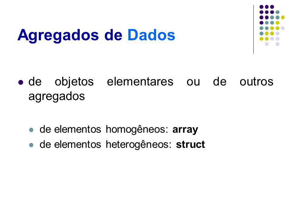 Agregados de Dados de objetos elementares ou de outros agregados de elementos homogêneos: array de elementos heterogêneos: struct