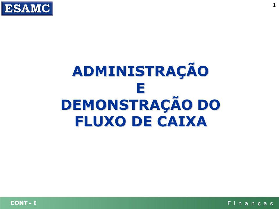 CONT - I 2 ADMINISTRAÇÃO DO FLUXO DE CAIXA A administração da liquidez, é uma das atividades mais importantes do administrador financeiro.