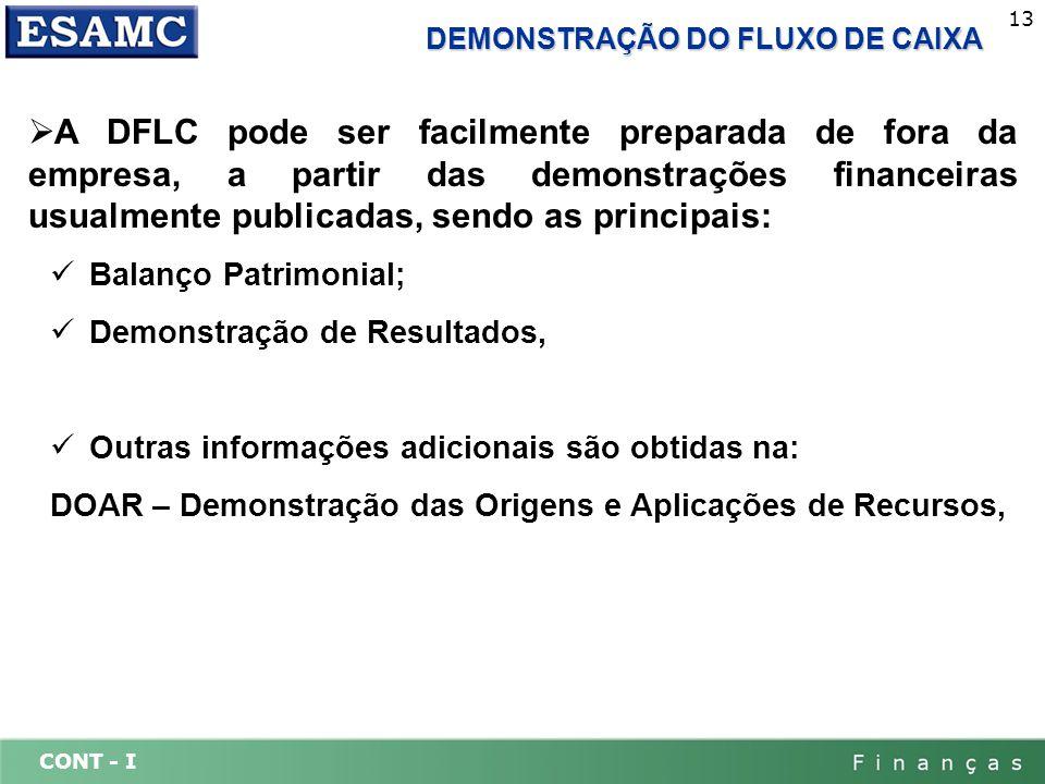 CONT - I 13 DEMONSTRAÇÃO DO FLUXO DE CAIXA A DFLC pode ser facilmente preparada de fora da empresa, a partir das demonstrações financeiras usualmente