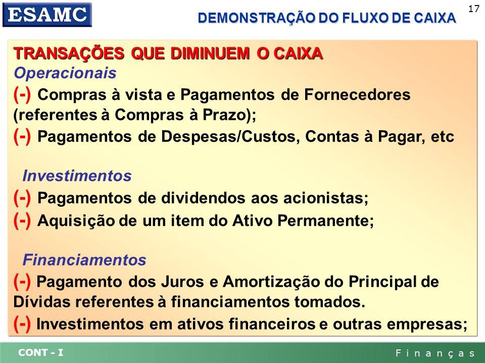 CONT - I 17 DEMONSTRAÇÃO DO FLUXO DE CAIXA TRANSAÇÕES QUE DIMINUEM O CAIXA Operacionais (-) Compras à vista e Pagamentos de Fornecedores (referentes à