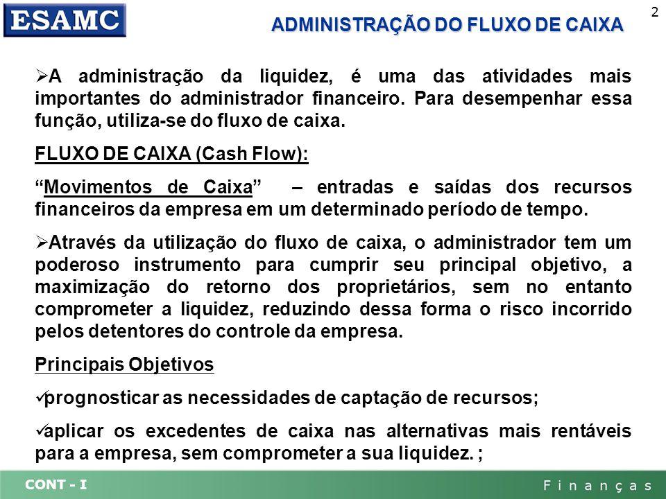 CONT - I 2 ADMINISTRAÇÃO DO FLUXO DE CAIXA A administração da liquidez, é uma das atividades mais importantes do administrador financeiro. Para desemp