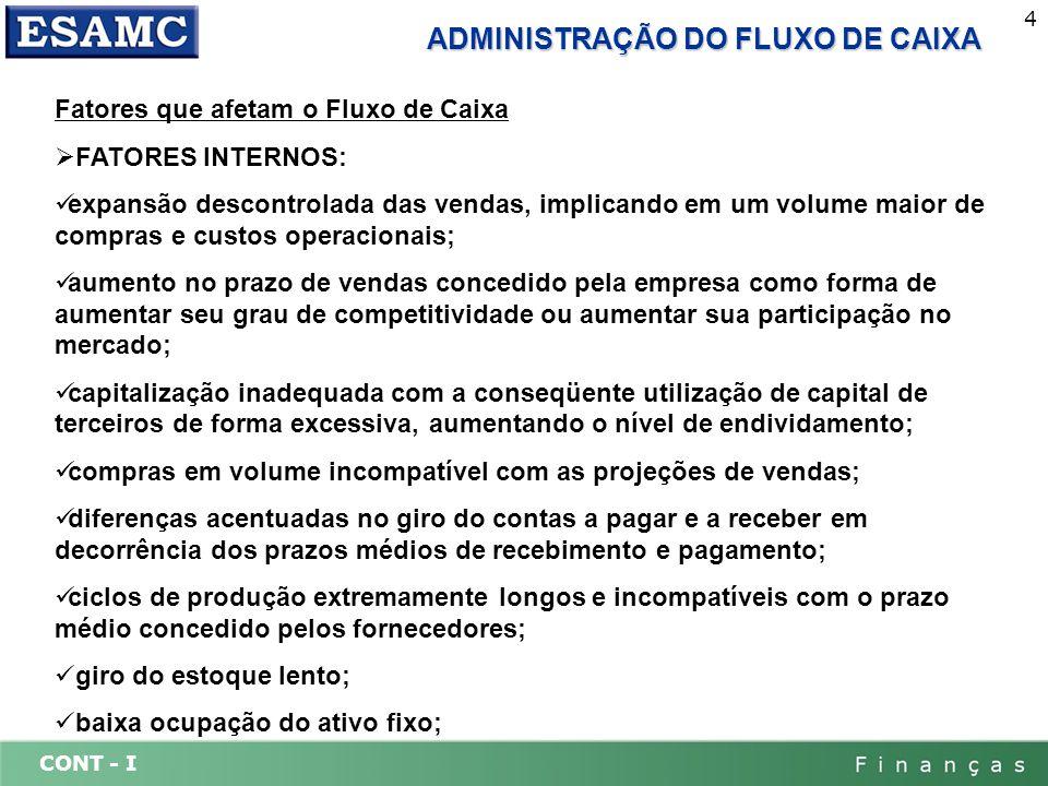 CONT - I 15 DEMONSTRAÇÃO DO FLUXO DE CAIXA Fluxos Operacionais Entradas e saídas de caixa diretamente relacionadas à produção e venda dos produtos e serviços da empresa.