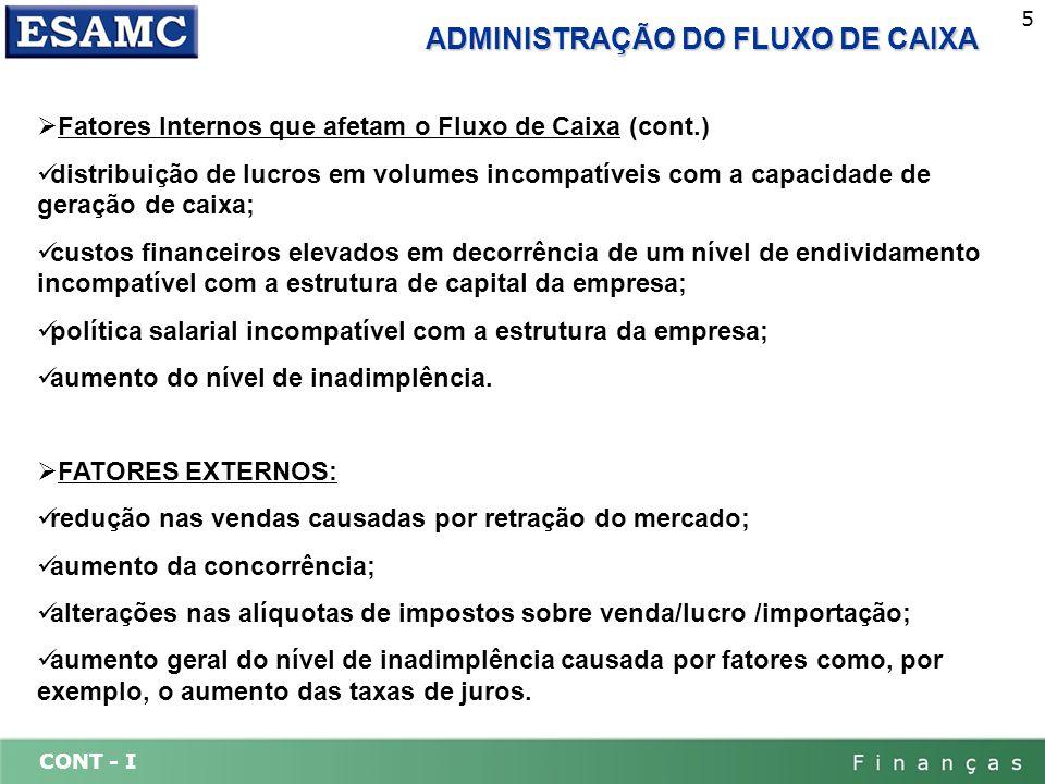 CONT - I 5 ADMINISTRAÇÃO DO FLUXO DE CAIXA Fatores Internos que afetam o Fluxo de Caixa (cont.) distribuição de lucros em volumes incompatíveis com a