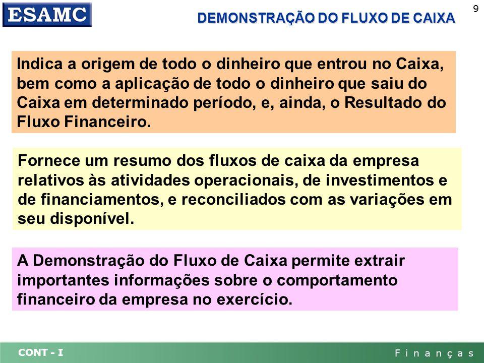 CONT - I 9 DEMONSTRAÇÃO DO FLUXO DE CAIXA Indica a origem de todo o dinheiro que entrou no Caixa, bem como a aplicação de todo o dinheiro que saiu do