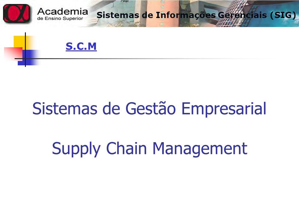 Sistemas de Informações Gerenciais (SIG) S.C.M Sistemas de Gestão Empresarial Supply Chain Management