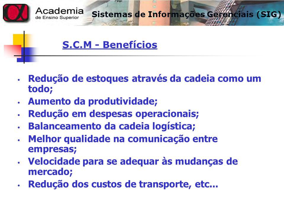 Redução de estoques através da cadeia como um todo; Aumento da produtividade; Redução em despesas operacionais; Balanceamento da cadeia logística; Mel