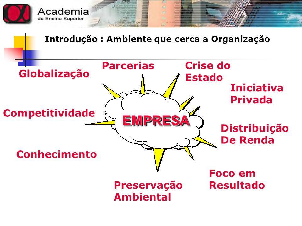Introdução : Ambiente que cerca a Organização EMPRESAEMPRESA Globalização Parcerias Crise do Estado Iniciativa Privada Distribuição De Renda Foco em R