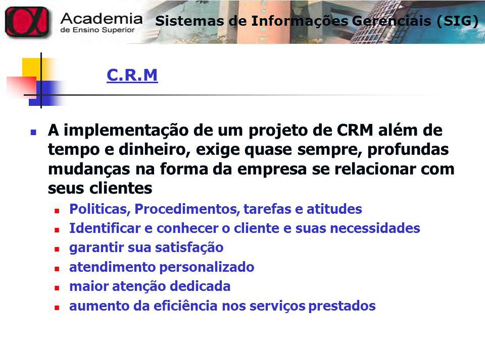 A implementação de um projeto de CRM além de tempo e dinheiro, exige quase sempre, profundas mudanças na forma da empresa se relacionar com seus clien