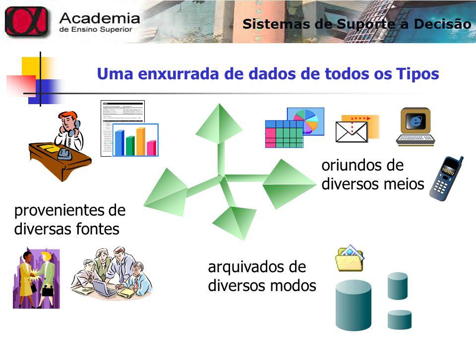 Uma enxurrada de dados de todos os Tipos provenientes de diversas fontes arquivados de diversos modos oriundos de diversos meios Sistemas de Suporte a