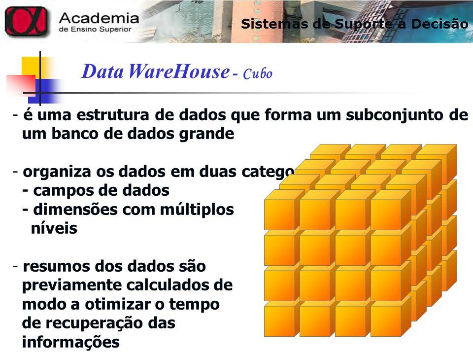- é uma estrutura de dados que forma um subconjunto de um banco de dados grande - organiza os dados em duas categorias: - campos de dados - dimensões