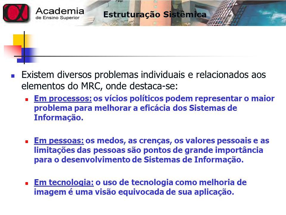 Existem diversos problemas individuais e relacionados aos elementos do MRC, onde destaca-se: Em processos: os vícios políticos podem representar o mai