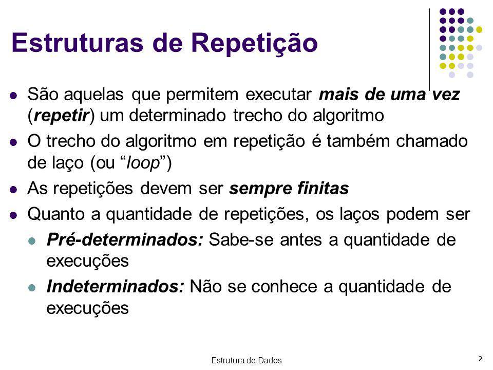 Estrutura de Dados 2 Estruturas de Repetição São aquelas que permitem executar mais de uma vez (repetir) um determinado trecho do algoritmo O trecho d