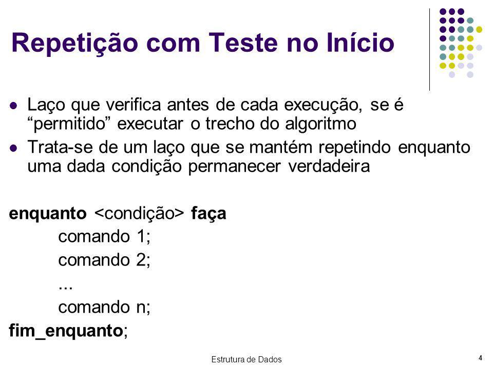 Estrutura de Dados 4 Repetição com Teste no Início Laço que verifica antes de cada execução, se é permitido executar o trecho do algoritmo Trata-se de