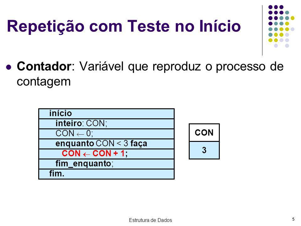 Estrutura de Dados 5 Repetição com Teste no Início Contador: Variável que reproduz o processo de contagem início inteiro: CON; CON 0; enquanto CON < 3
