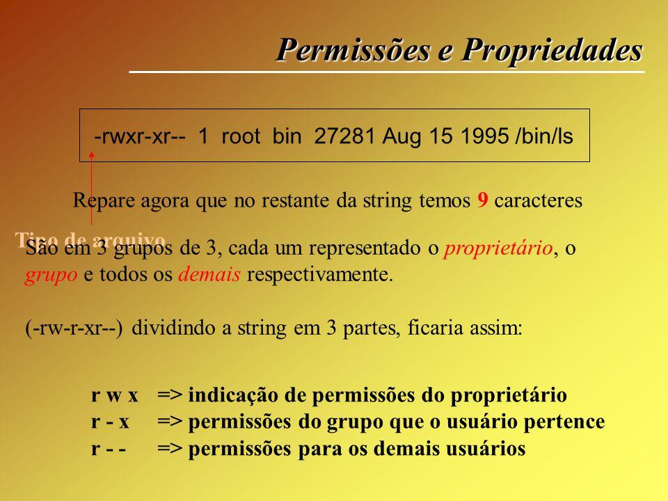 Permissões e Propriedades r w x => indicação de permissões do proprietário r - x => permissões do grupo que o usuário pertence r - - => permissões par