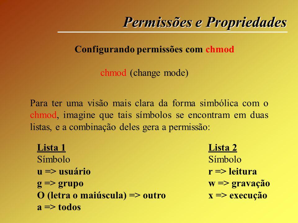 Permissões e Propriedades Configurando permissões com chmod chmod (change mode) Para ter uma visão mais clara da forma simbólica com o chmod, imagine
