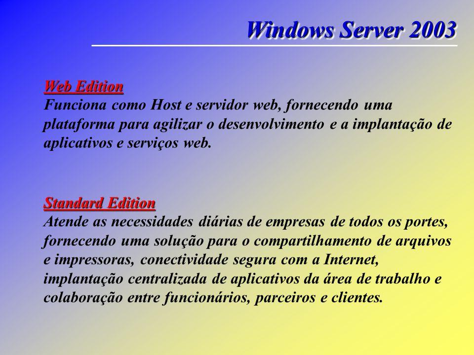 Windows Server 2003 Web Edition Funciona como Host e servidor web, fornecendo uma plataforma para agilizar o desenvolvimento e a implantação de aplica