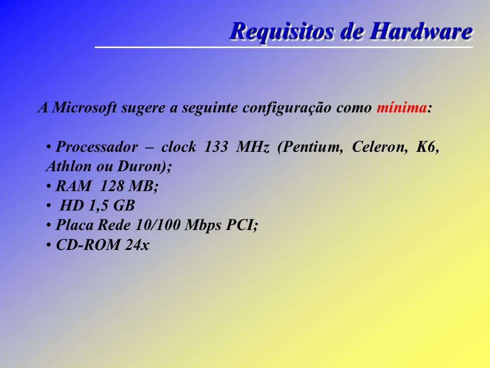 Requisitos de Hardware A Microsoft sugere a seguinte configuração como mínima: Processador – clock 133 MHz (Pentium, Celeron, K6, Athlon ou Duron); RA