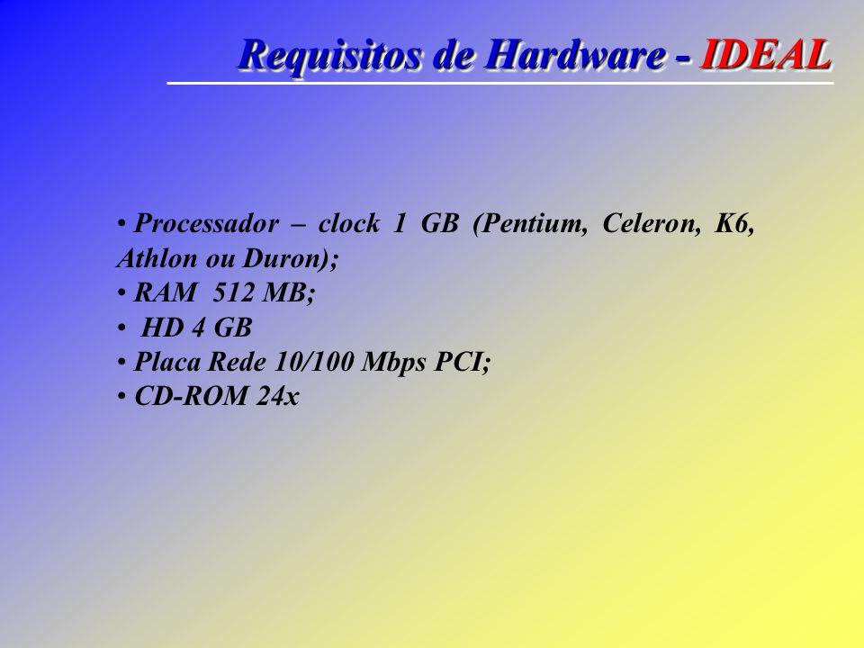 Requisitos de Hardware - IDEAL Processador – clock 1 GB (Pentium, Celeron, K6, Athlon ou Duron); RAM 512 MB; HD 4 GB Placa Rede 10/100 Mbps PCI; CD-RO