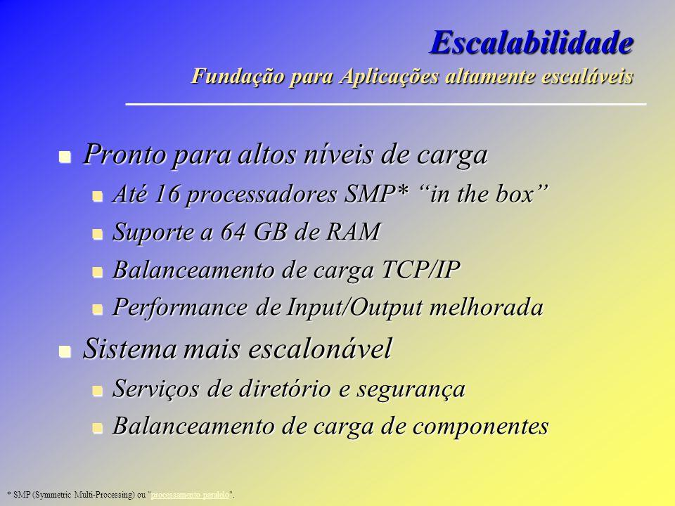 Escalabilidade Fundação para Aplicações altamente escaláveis Pronto para altos níveis de carga Pronto para altos níveis de carga Até 16 processadores