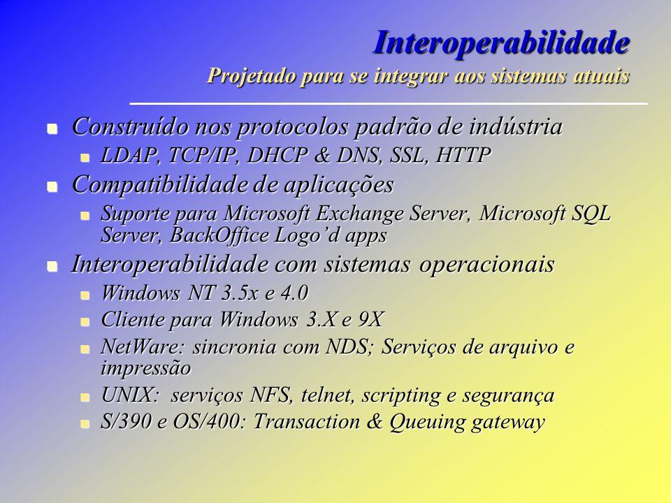 Interoperabilidade Projetado para se integrar aos sistemas atuais Construído nos protocolos padrão de indústria Construído nos protocolos padrão de in