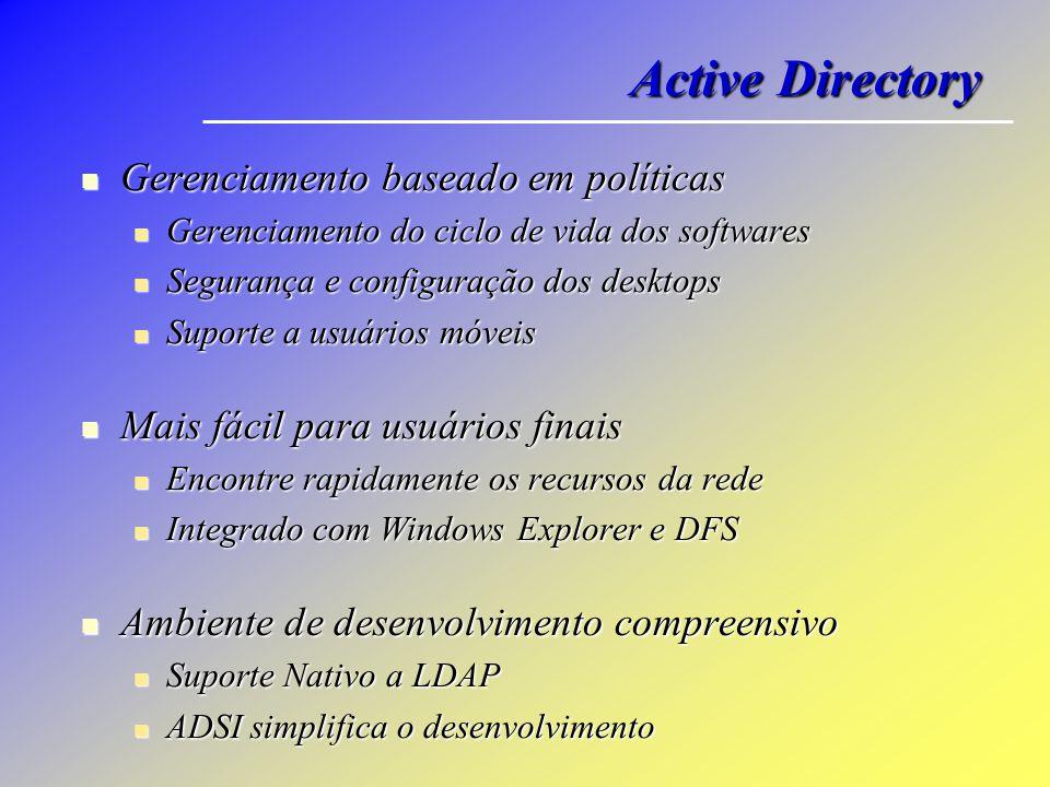 Active Directory Gerenciamento baseado em políticas Gerenciamento baseado em políticas Gerenciamento do ciclo de vida dos softwares Gerenciamento do c