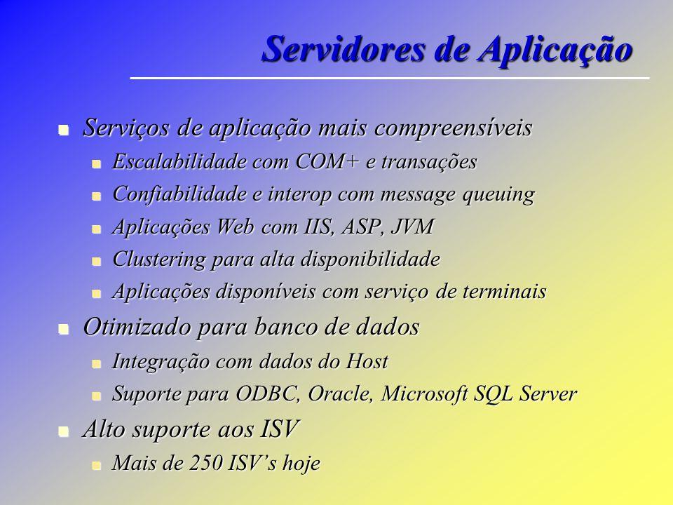 Servidores de Aplicação Serviços de aplicação mais compreensíveis Serviços de aplicação mais compreensíveis Escalabilidade com COM+ e transações Escal