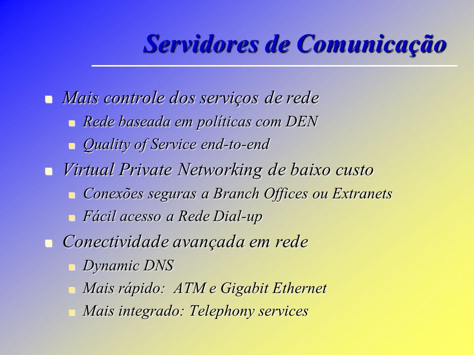Servidores de Comunicação Mais controle dos serviços de rede Mais controle dos serviços de rede Rede baseada em políticas com DEN Rede baseada em polí