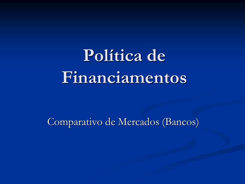 Política de Financiamentos Comparativo de Mercados (Bancos)