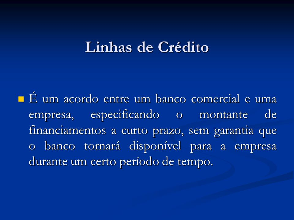 Termo de Crédito Os termos de créditos dos fornecedores determinam o período de crédito, o valor do desconto (se algum), o período do desconto financeiro e a data que o período de crédito inicia.