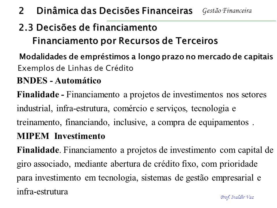 Prof. Ivaldir Vaz Gestão Financeira BNDES - Automático Finalidade - Financiamento a projetos de investimentos nos setores industrial, infra-estrutura,