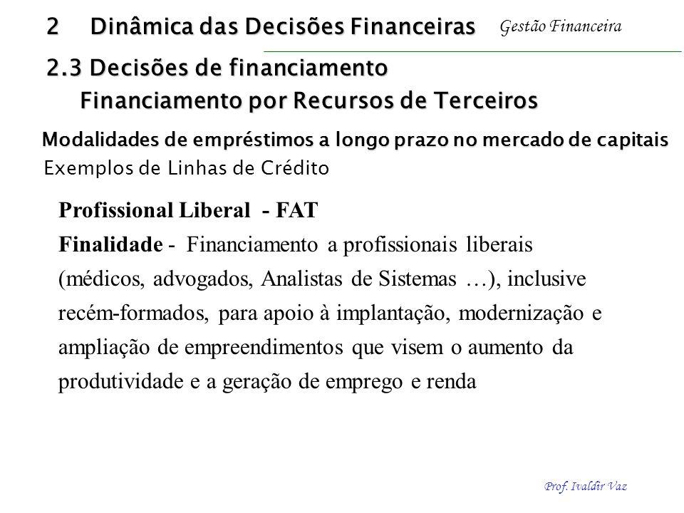 Prof. Ivaldir Vaz Gestão Financeira Profissional Liberal - FAT Finalidade - Financiamento a profissionais liberais (médicos, advogados, Analistas de S