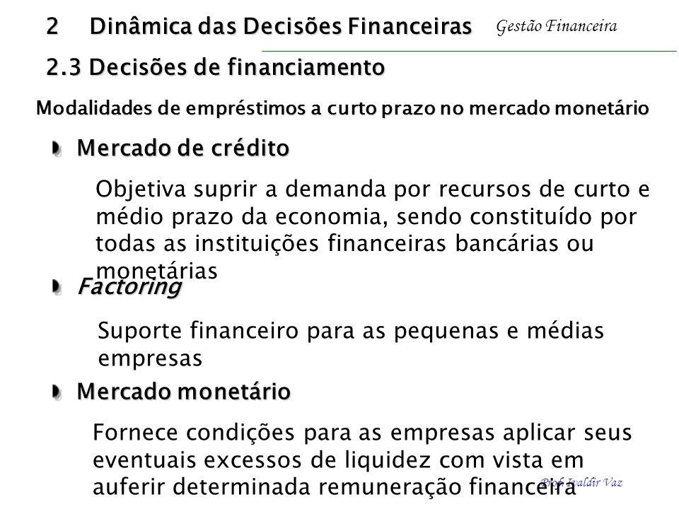 Prof. Ivaldir Vaz Gestão Financeira Mercado de crédito Mercado de crédito Objetiva suprir a demanda por recursos de curto e médio prazo da economia, s
