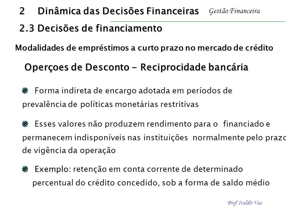 Prof. Ivaldir Vaz Gestão Financeira Operçoes de Desconto - Reciprocidade bancária Forma indireta de encargo adotada em períodos de prevalência de polí