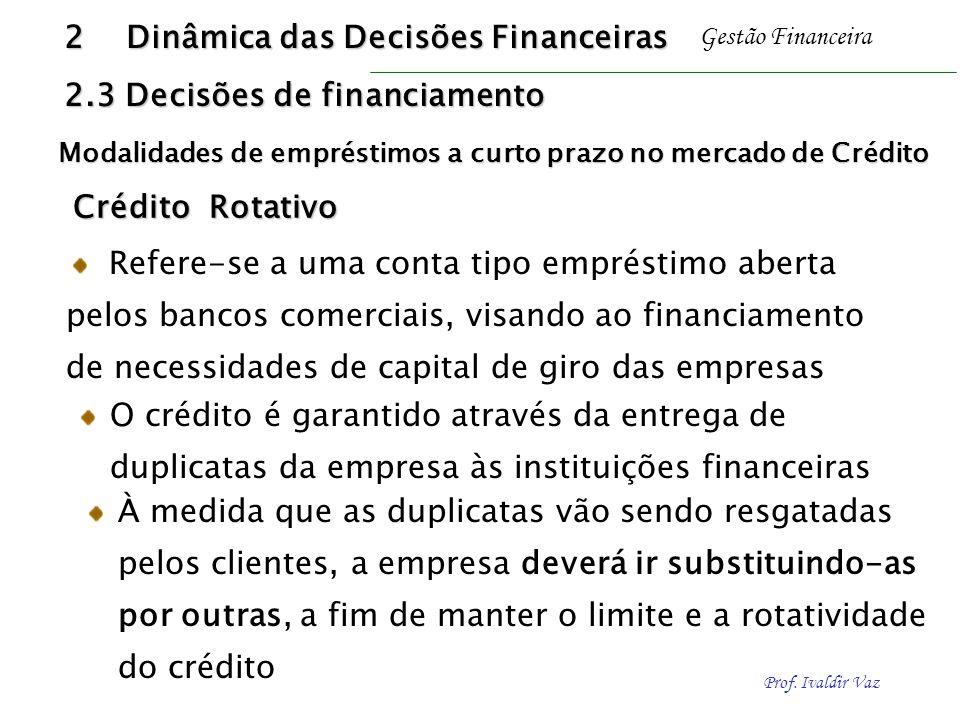 Prof. Ivaldir Vaz Gestão Financeira Crédito Rotativo Crédito Rotativo O crédito é garantido através da entrega de duplicatas da empresa às instituiçõe