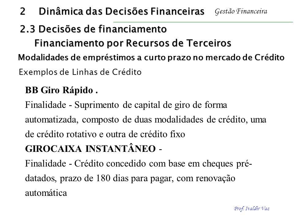 Prof. Ivaldir Vaz Gestão Financeira BB Giro Rápido. Finalidade - Suprimento de capital de giro de forma automatizada, composto de duas modalidades de