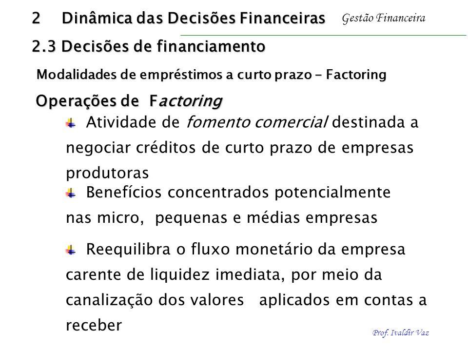 Prof. Ivaldir Vaz Gestão Financeira Operações de Factoring Operações de Factoring Benefícios concentrados potencialmente nas micro, pequenas e médias
