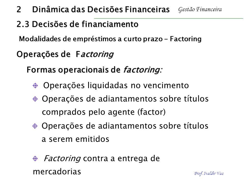 Prof. Ivaldir Vaz Gestão Financeira Formas operacionais de factoring: Operações de adiantamentos sobre títulos comprados pelo agente (factor) Operaçõe