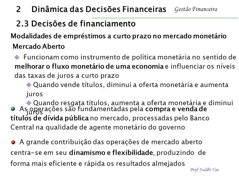 Prof. Ivaldir Vaz Gestão Financeira Mercado Aberto melhorar o fluxo monetário de uma economia Funcionam como instrumento de política monetária no sent