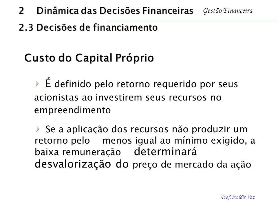 Prof. Ivaldir Vaz Gestão Financeira Custo do Capital Próprio Custo do Capital Próprio É definido pelo retorno requerido por seus acionistas ao investi
