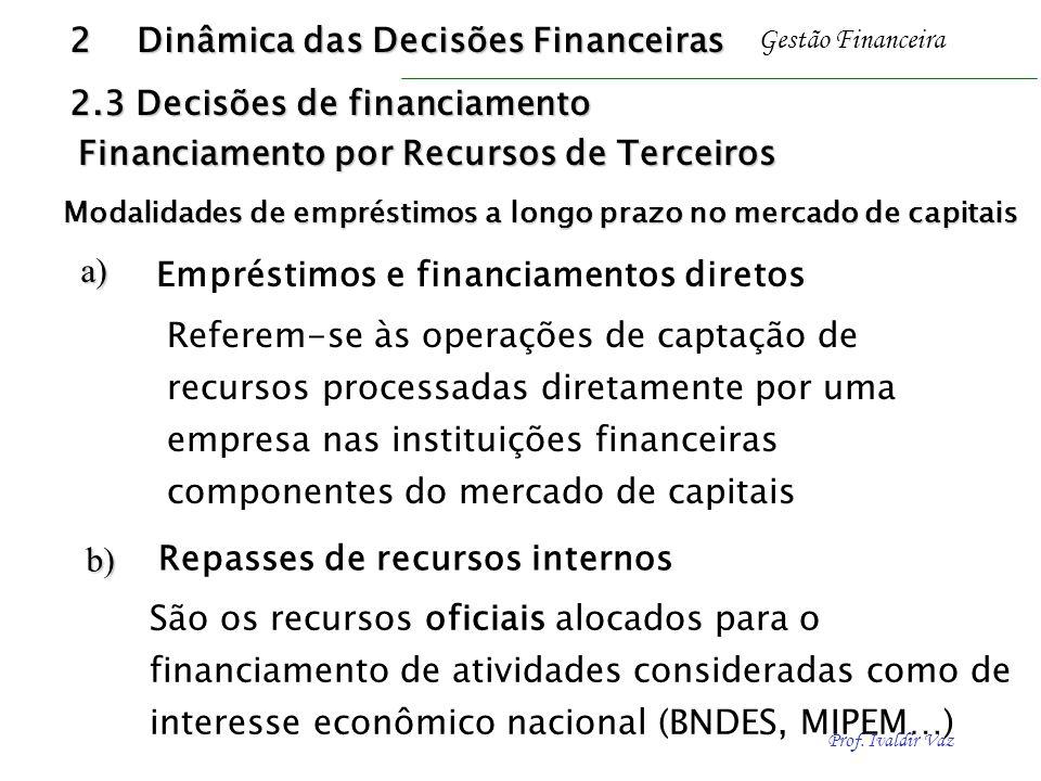 Prof. Ivaldir Vaz Gestão Financeiraa) b) Referem-se às operações de captação de recursos processadas diretamente por uma empresa nas instituições fina