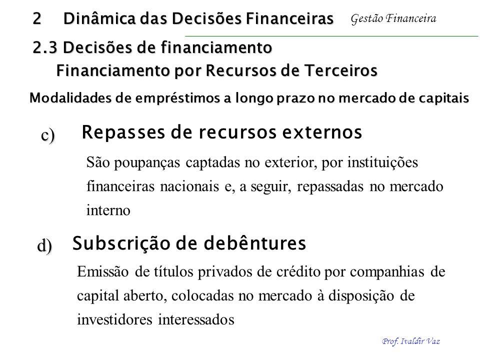 Prof. Ivaldir Vaz Gestão Financeirac) d) São poupanças captadas no exterior, por instituições financeiras nacionais e, a seguir, repassadas no mercado