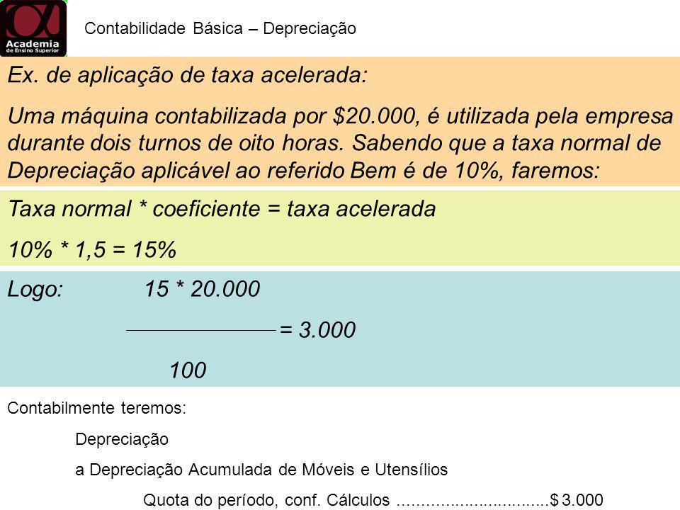 Logo: 15 * 20.000 = 3.000 100 Contabilidade Básica – Depreciação Taxa normal * coeficiente = taxa acelerada 10% * 1,5 = 15% Ex. de aplicação de taxa a