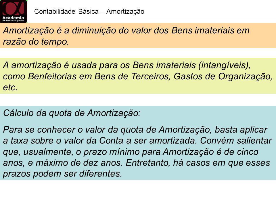 Contabilidade Básica – Amortização Amortização é a diminuição do valor dos Bens imateriais em razão do tempo. A amortização é usada para os Bens imate