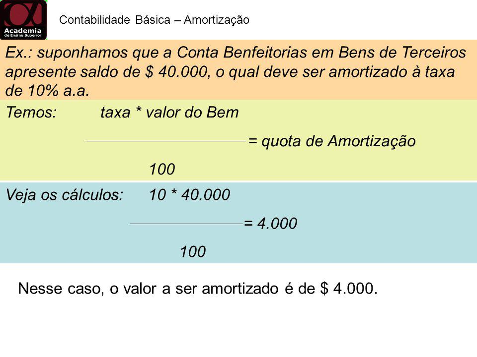 Contabilidade Básica – Amortização Ex.: suponhamos que a Conta Benfeitorias em Bens de Terceiros apresente saldo de $ 40.000, o qual deve ser amortiza